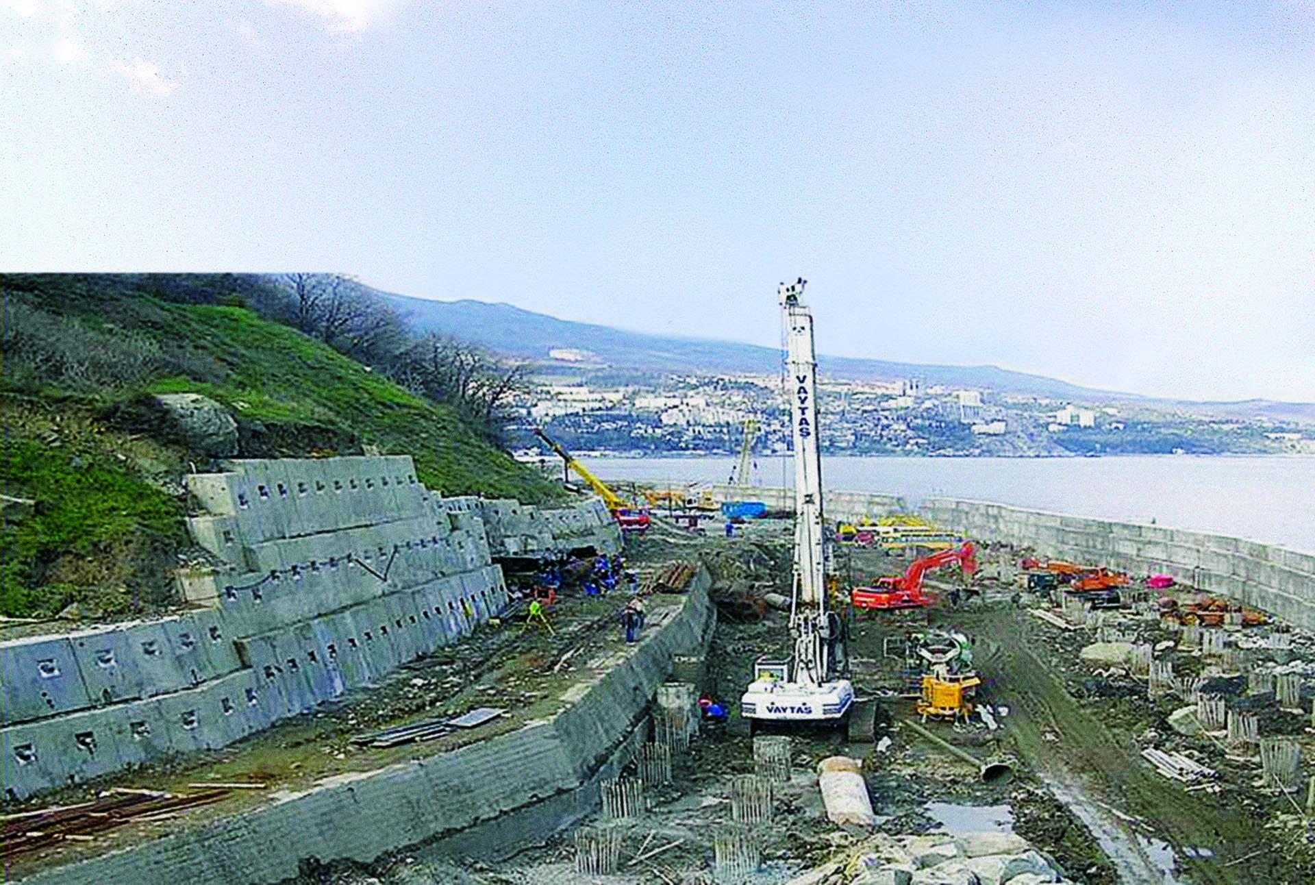 Coastal slope strengthening, Gurzuf